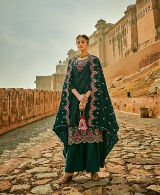 Faux Georgette Embroidered Sharara Suit In Green