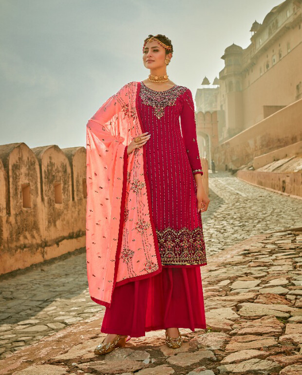 Faux Georgette Embroidered Sharara Suit In Rani