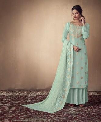 Pure Banarasi Jacquard Sharara Suit In Mint Green