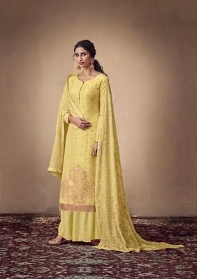 Pure Banarasi Jacquard Sharara Suit In Yellow