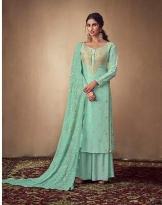 Pure Banarasi Jacquard Sharara Suit In Sea Green