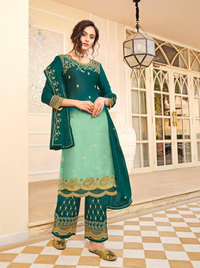 Satin Georgette Embroidered Plazzo Suit In Sea Green