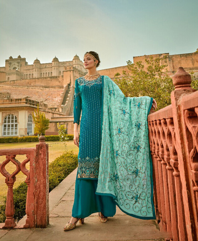 Faux Georgette Embroidered Sharara Suit In Blue