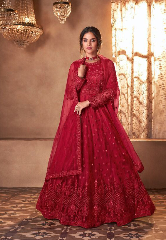 Red Embroidered Butterfly Net Anarkali Suit
