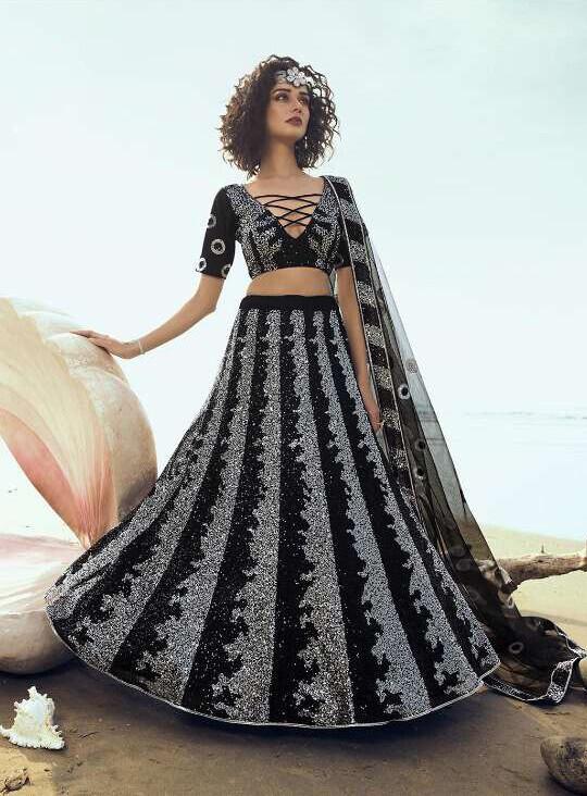 Sequins Embellished Soft Net Lehenga Choli In Black