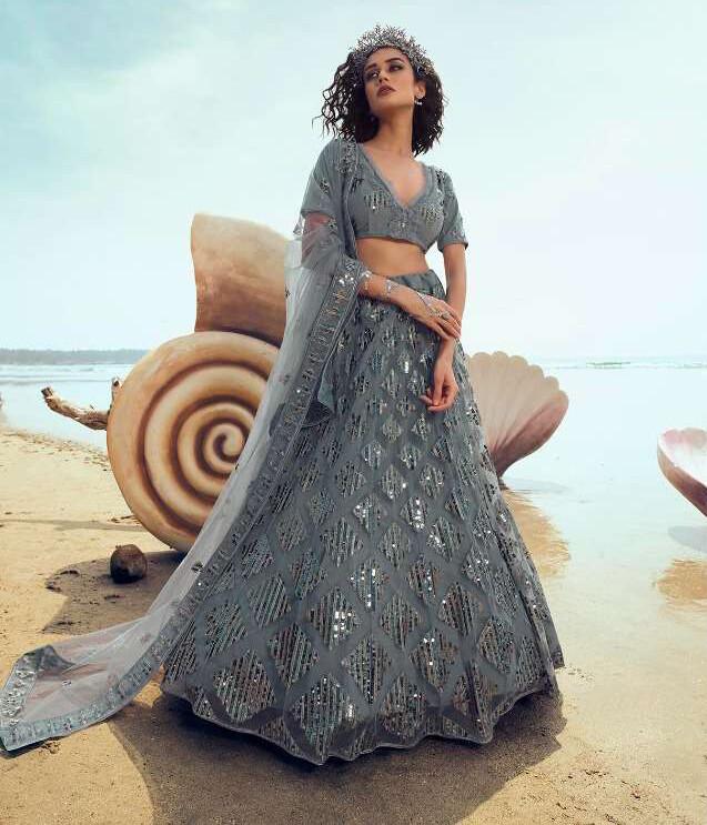 Sequins Embellished Soft Net Lehenga Choli In Grey