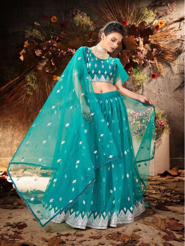 Zari Embroidered Soft Net Lehenga Choli In Teal Blue
