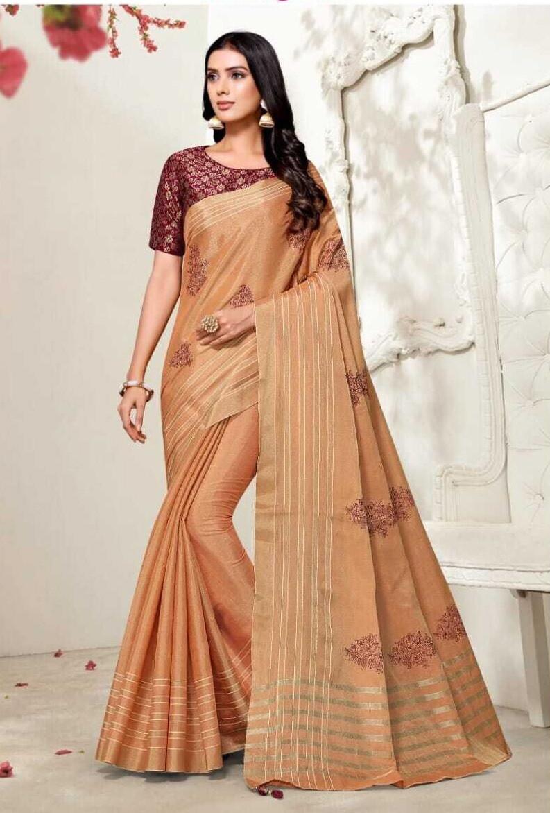 Fancy Tissue Silk Saree In Peach