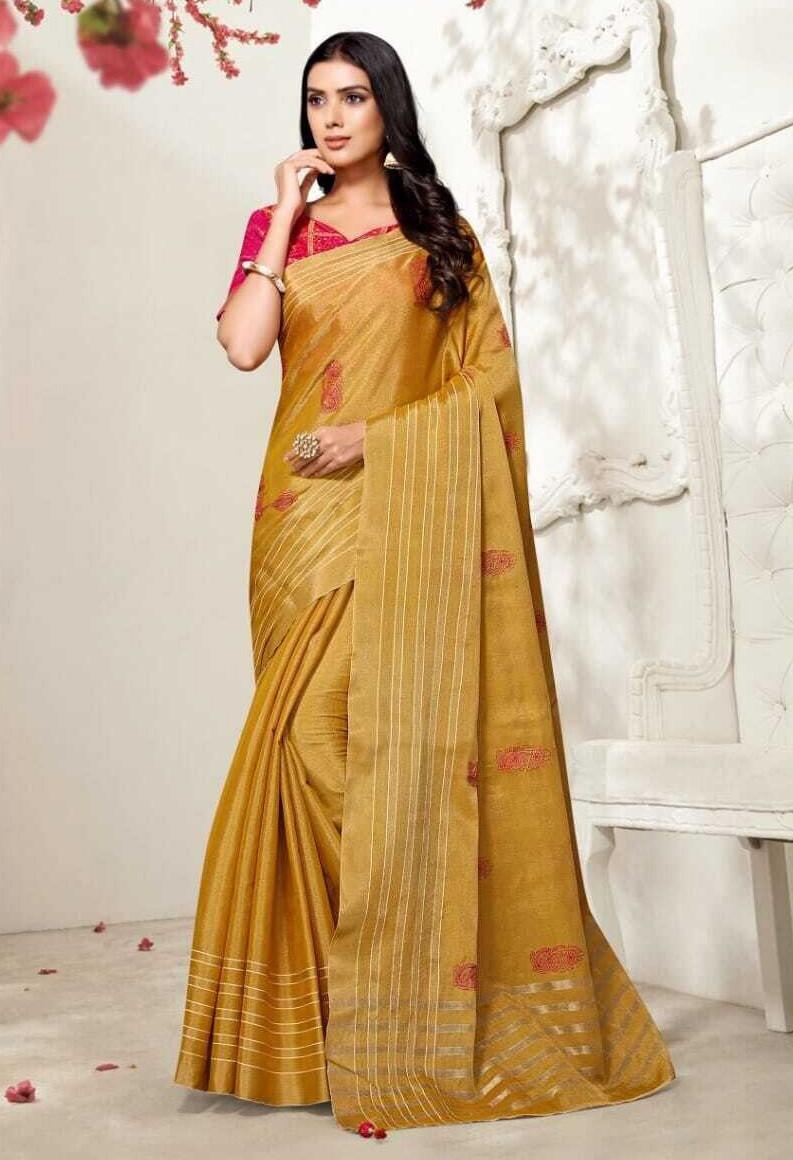 Fancy Tissue Silk Saree In Mustard Yellow