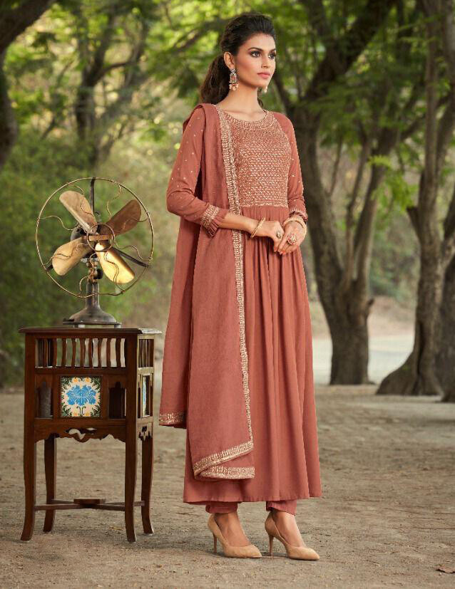 Peach Embroidered Pure Viscose Rayon Anarkali Suit