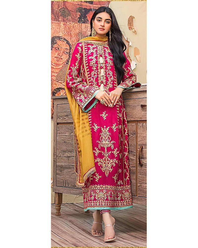 Heavy Embroidered Faux Georgette Pakistani Suit In Rani