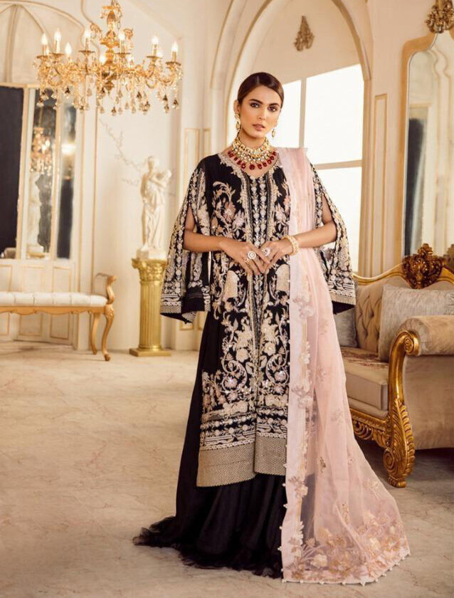 Heavy Embroidered Faux Georgette Pakistani Suit In Black