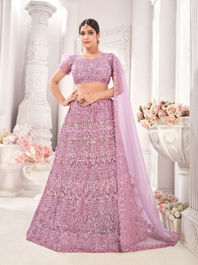 Heavy Sequence Embroidered Net Lehenga Choli In Onion Pink