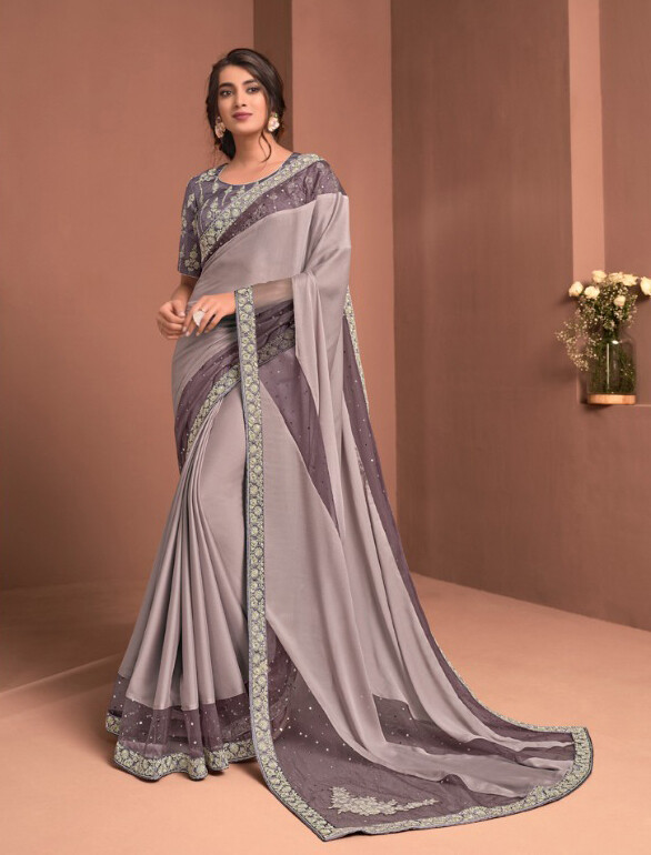 Embroidered Silk Saree In Grey