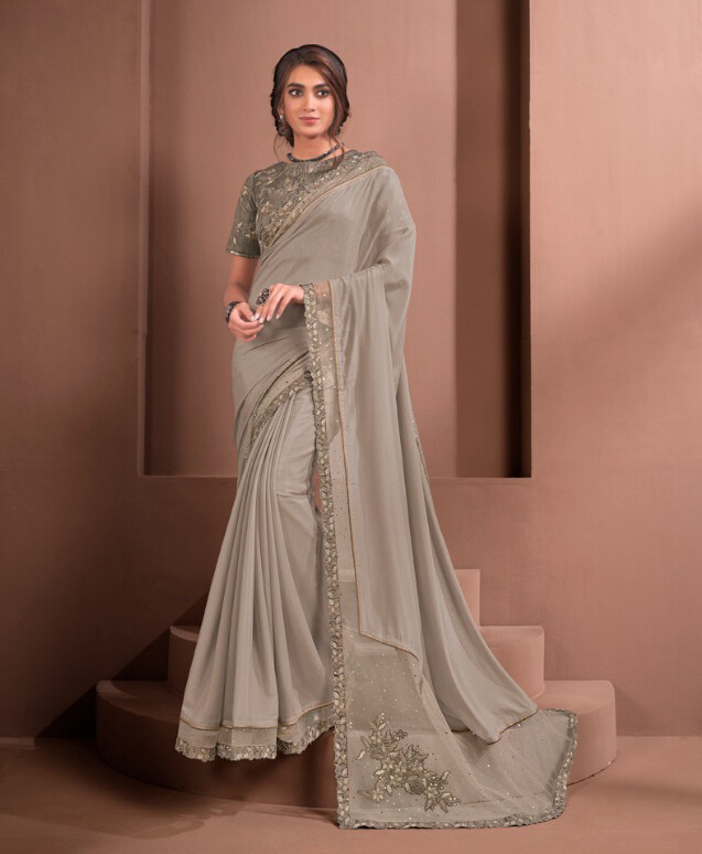 Gorgeous Embroidered Silk Saree In Grey