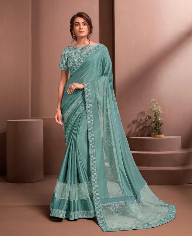 Beautiful Embroidered Silk Saree In Blue