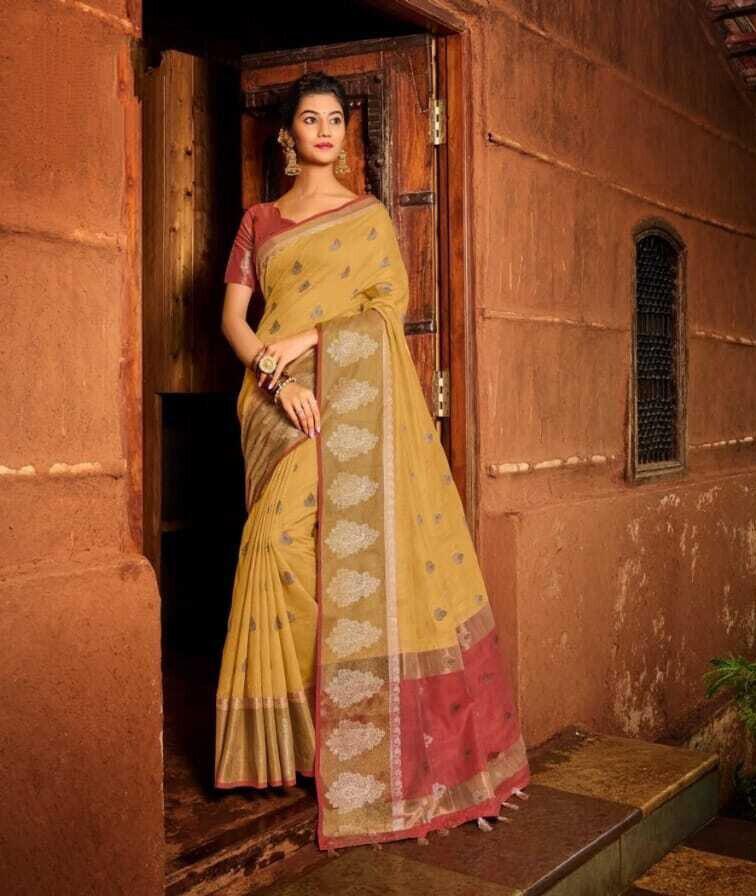 Chanderi Weaving Cotton Saree In Light Yellow