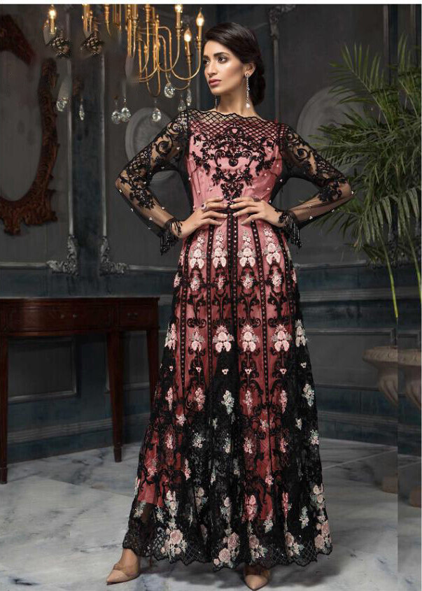 Embroidered Work Pakistani Suit In Black