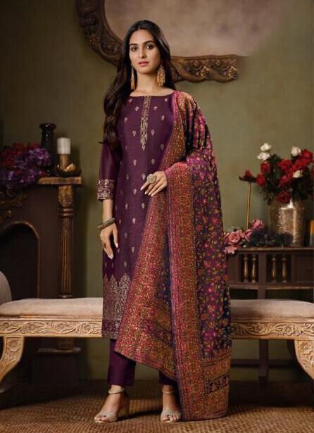 Swarovski Worked Silk Jacquard Plazzo Suit In Purple