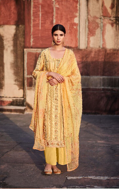 Digital Print Worked Pure Cotton Satin Plazzo Suit In Yellow