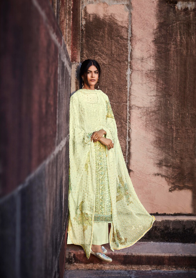 Digital Print Worked Pure Cotton Satin Plazzo Suit In Light Yellow