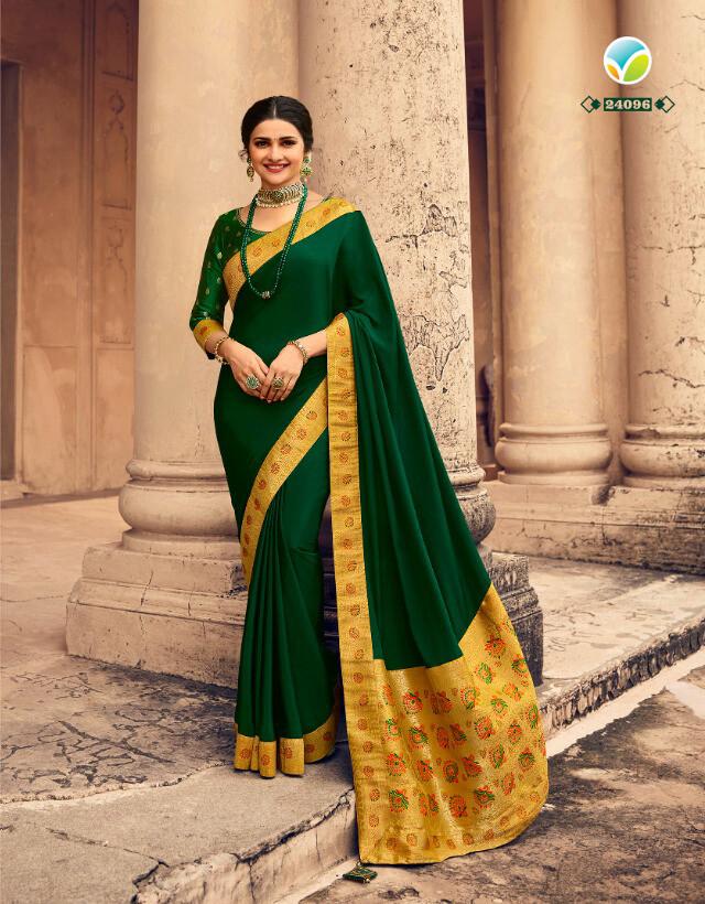 Banaras Border Pallu Silk Crepe Saree In Green