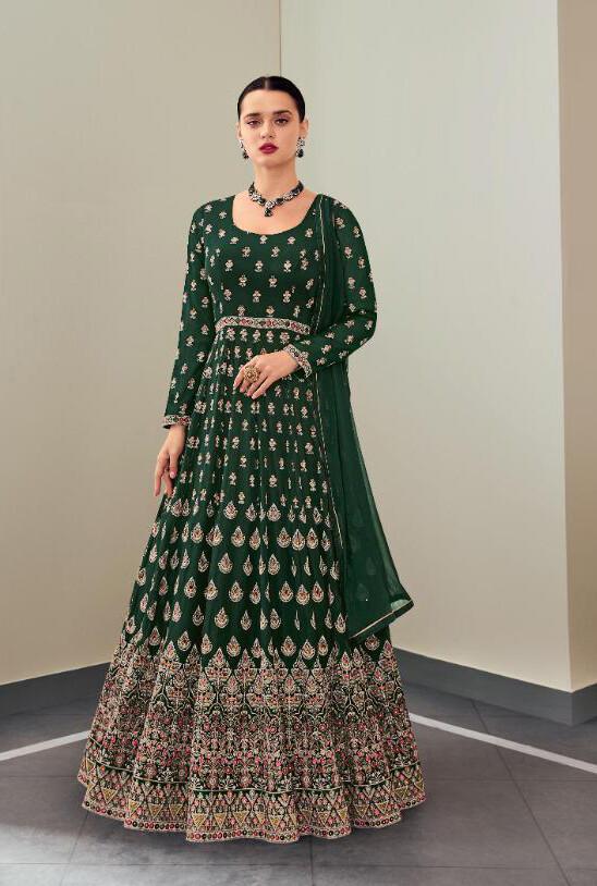 Embroidered Work Real Georgette Anarkali Suit In Bottle Green