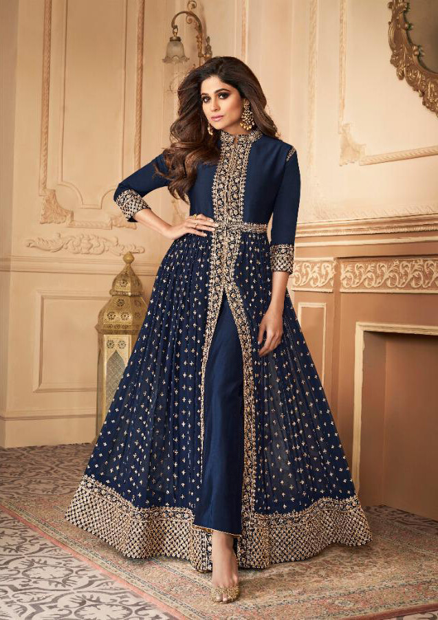Embroidered Real Georgette Anarkali Suit In Navy Blue