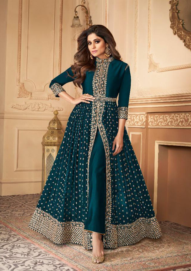 Embroidered Real Georgette Anarkali Suit In Rama Blue