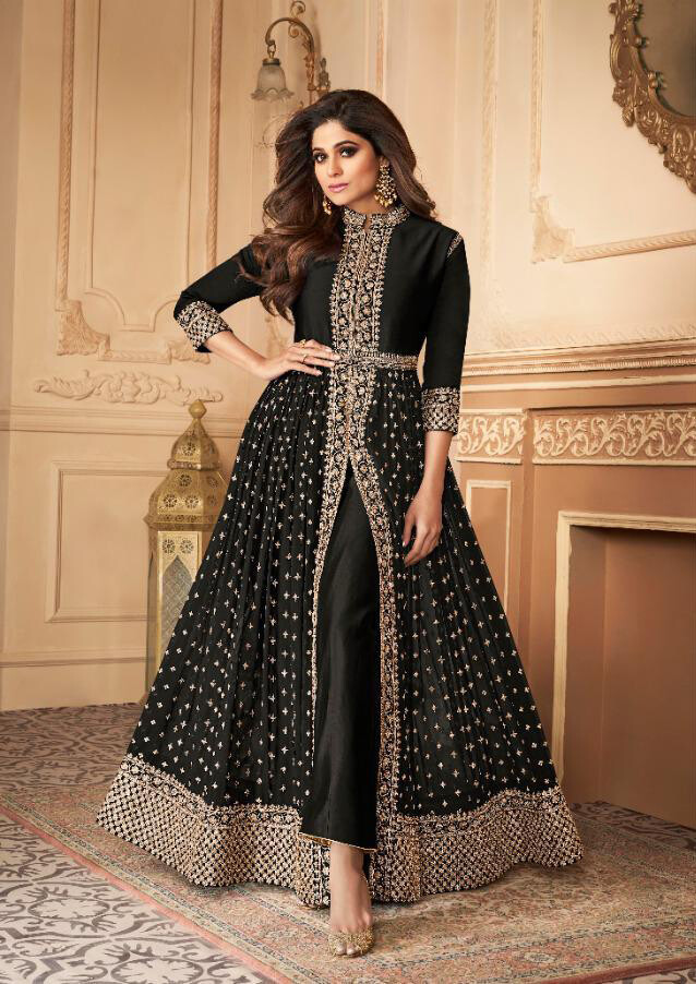 Embroidered Real Georgette Anarkali Suit In Black