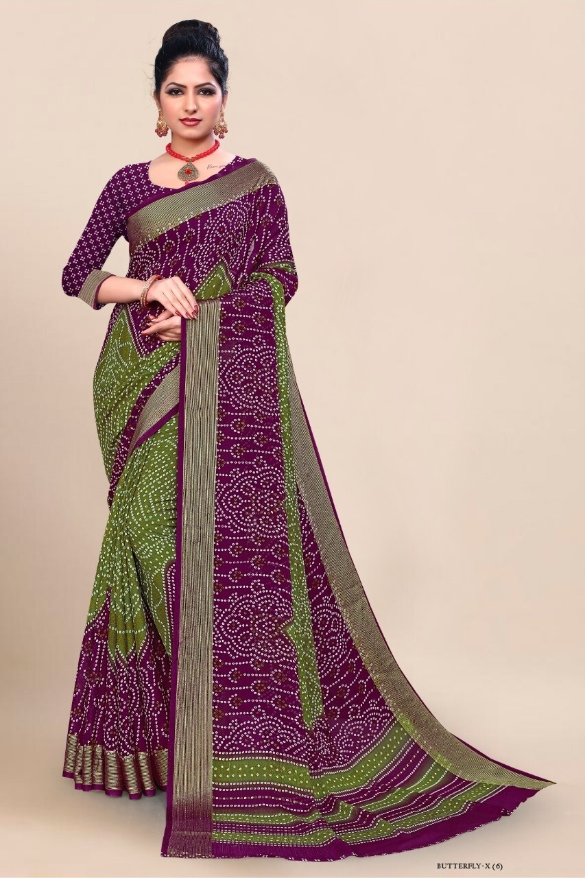 Fancy Print Chiffon Saree In Green Purple