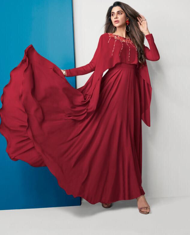 Embroidered Georgette Gown In Red