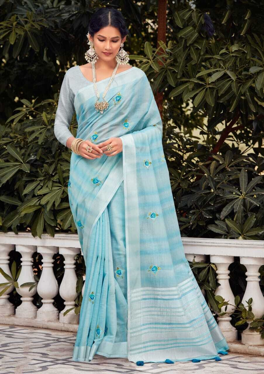 Linen Embroidery saree In Sky Blue