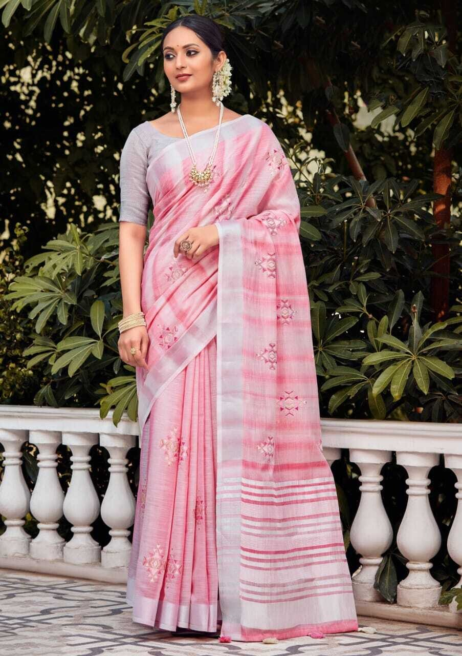 Linen Embroidery saree In Pink