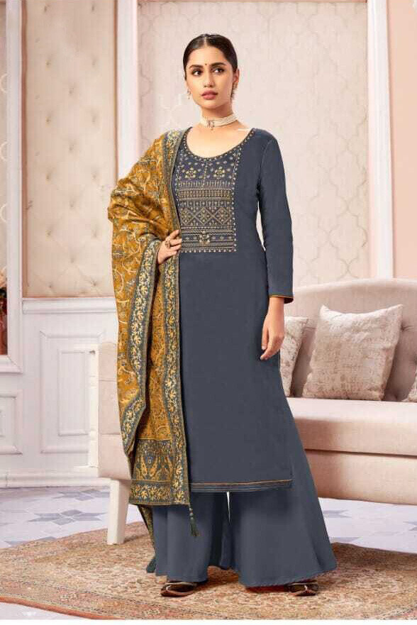 Embroidered Pure Zam Cotton Plazzo Suit In Grey