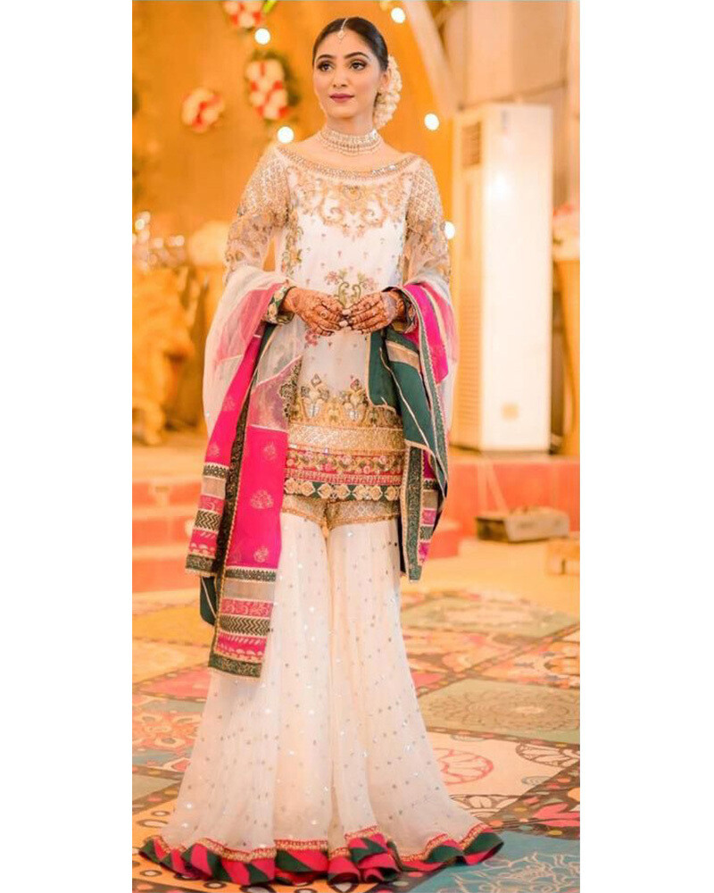 Embroidered Silk Satin Sharara Suit In White