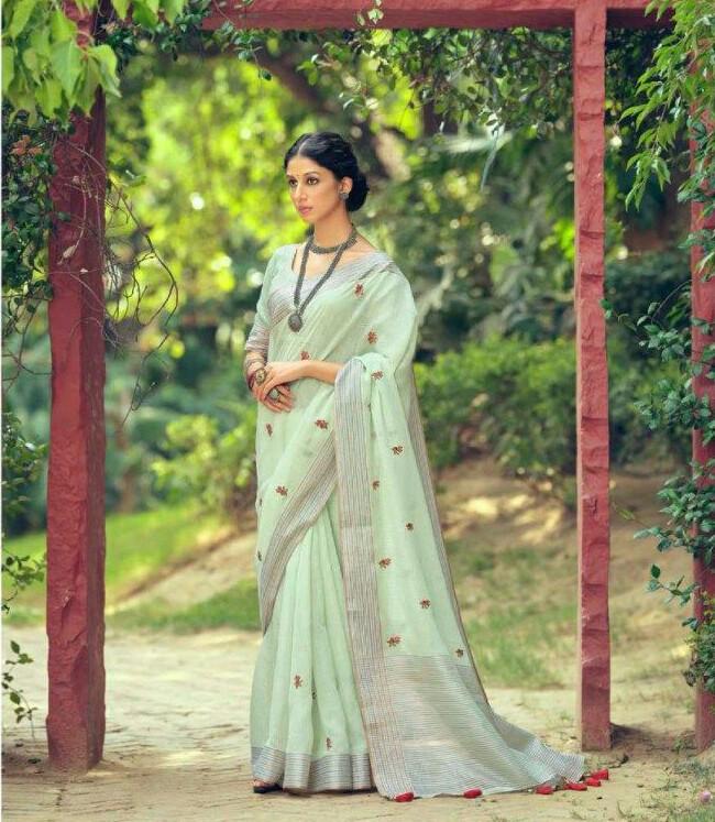 Linen Embroidery Butti saree In Sea Green