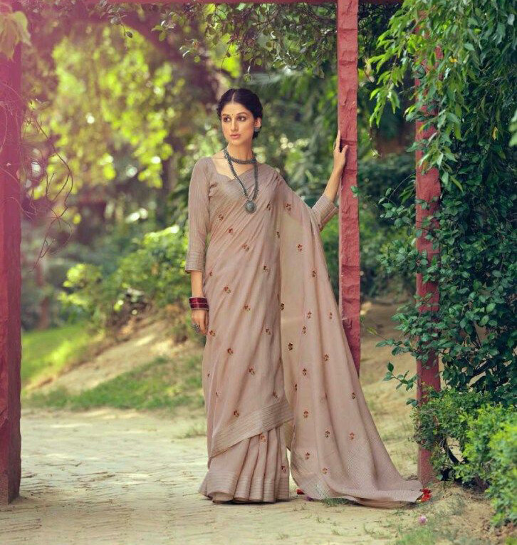 Linen Embroidery Butti saree In Brown
