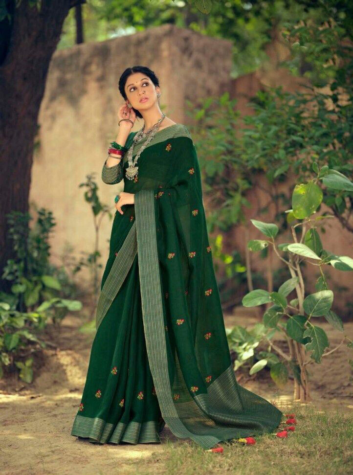 Linen Embroidery Butti saree In Bottle Green