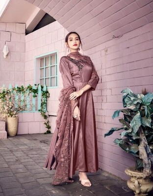Embroidered Muslin Anarkali Suit In Onion Pink
