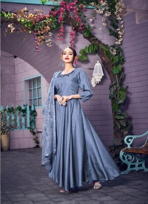 Embroidered Muslin Anarkali Suit In Blue