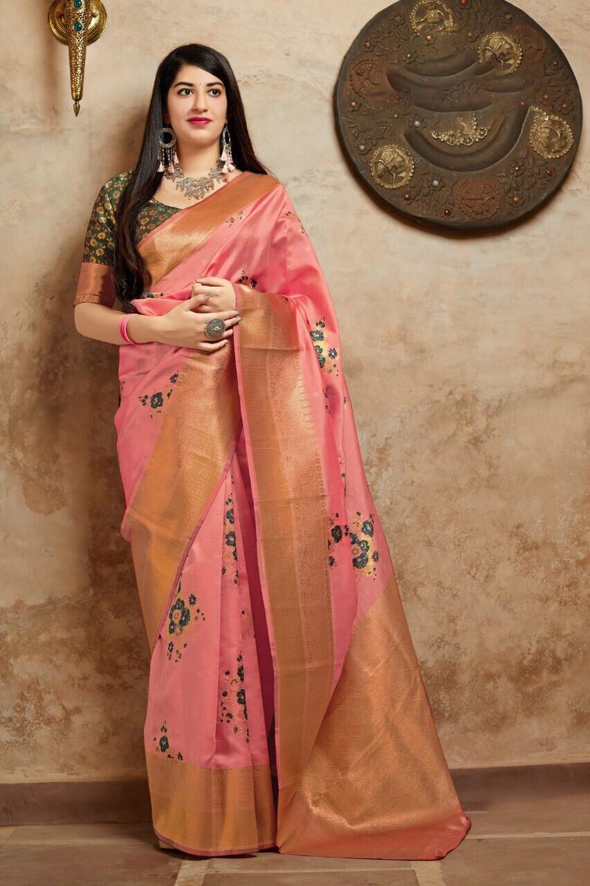 Banarasi Silk Saree In Peach