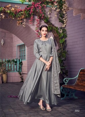 Embroidered Muslin Anarkali Suit In Grey