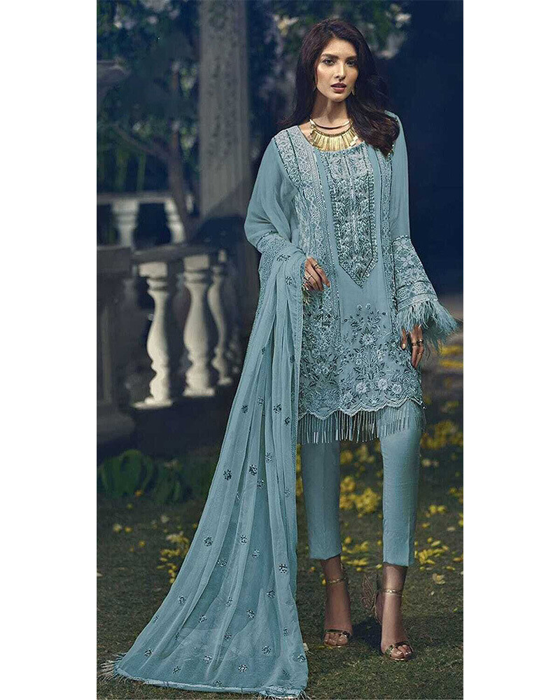 Embroidered Faux Georgette Pakistani Suit In Blue