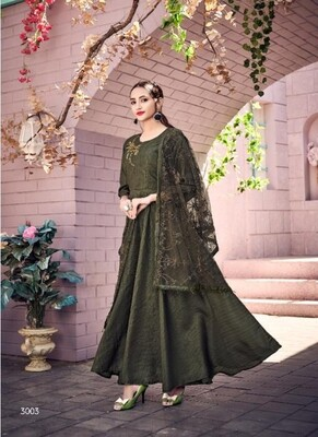 Embroidered Muslin Anarkali Suit In Olive Green