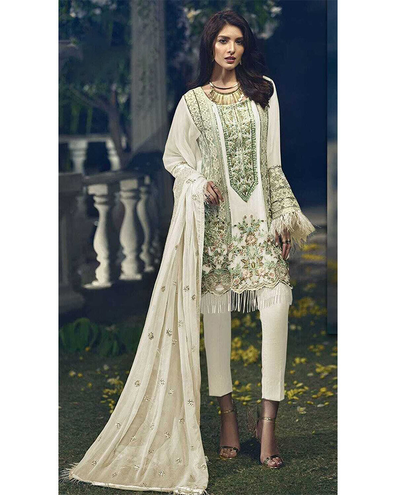 Embroidered Faux Georgette Pakistani Suit In White