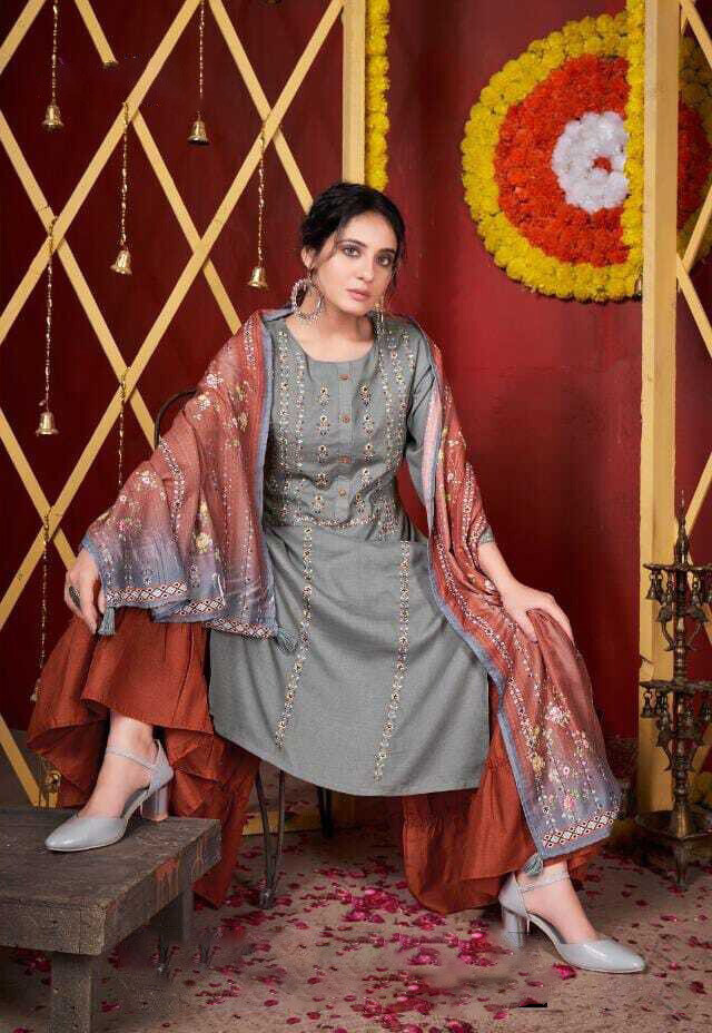Embroidered Pure Cotton Plazzo Suit In Grey