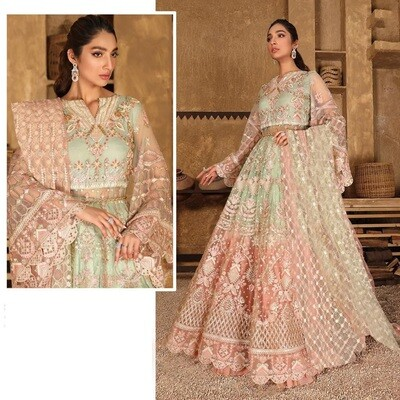 Embroidered Butterfly Net Anarkali Suit In Light Green