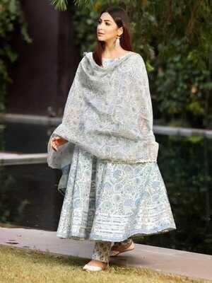 Lace Gotta Work Cotton Anarkali Suit In White