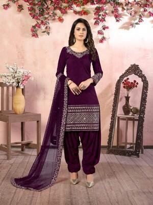Real Glass Work  Art silk Patiyala Suit In Purple